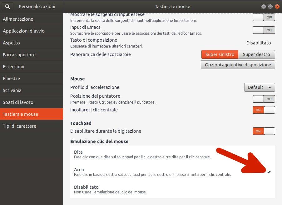 Tasto destro touchpad non funziona dalla versione 17.10 risolvere